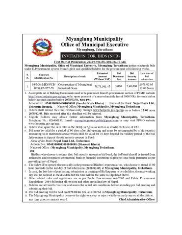 Invitation for bid (Myanglung Industrial Gram)